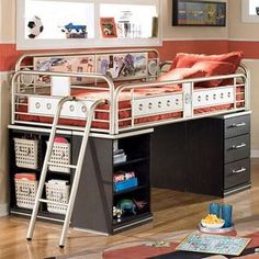 Teen Bunk Beds | Kids boys teen metal twin low loft bed with drawer storage... | review ...