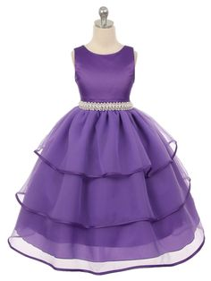 Purple Fabulous Satin and TulleFlower Girl Dress (Available in Sizes 4-14 in 3…
