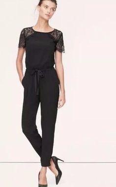 Ann Taylor Loft Black Lace Jumpsuit Open Back Sz 4 #AnnTaylorLOFT #Jumpsuit