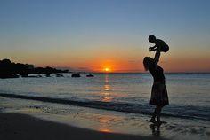 Mutter, Sohn, Baby, Strand