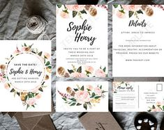 Romantic Floral Feather Wedding invite template package