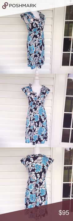 "Take it Higher Bright Navy Claire Silk Jersey Dres This amazing Lilly Pulitzer dress is in excellent condition. In the ""take it higher"" print, this bright navy dress is made from a lovely silk jersey. Soft, heavyweight, and breathable, this is one of Lilly's best styles. Made from a silk/cotton blend. In excellent condition. Approximate measurements lying flat: Bust 18"", Waist 15"", Length 36"" 30235 Lilly Pulitzer Dresses Midi"