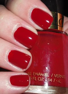 "Nail polish in ""Raven Red"" from Revlon (Style: 721). This iconic shade debuted in 1945."