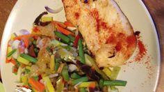 Dinner: vegetables and chicken fillet