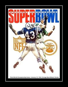 """1969 Super Bowl III Program Poster - Namath Guarantee Game! Offered here is a poster featuring the artwork from the game day program from the famous 1969 Super Bowl. Played between the New York Jets and heavily favored Baltimore Colts, Joe Namath led his """"Big Apple"""" squad to an improbable victory on January 12, 1969. Details High-quality photographic print Printed on heavyweight satin photo paper Ready to frame Great gift idea Made in the U.S.A. Available in 3 sizes Choice of black or white bor"""