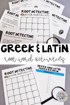 Teaching Greek and Latin roots in your classroom? These fun activities engage your students while teaching or assessing mastery of this standard. Vocabulary Strategies, Vocabulary Instruction, Vocabulary Games, Spelling Activities, Listening Activities, Fun Activities, Classroom Activities, Latin Root Words, Word Study