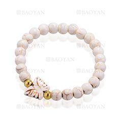 brazalete de bola turquesa blanca con mariposa y perla dorado acero inoxidable para mujer -SSBTG924837