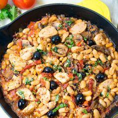 One Skillet Tuscan Chicken Recipe Main Dishes with boneless skinless chicken breasts, mushrooms, yellow onion, garlic, medium…