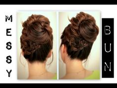 ▶ ★CUTE, EVERYDAY SCHOOL HAIRSTYLES | BIG, MESSY BUN WITH BRAIDS UPDOS FOR MEDIUM LONG HAIR TUTORIAL - YouTube