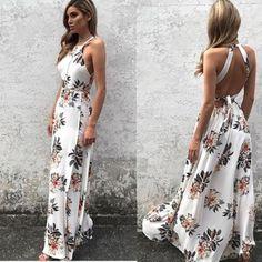 465c8872486 Women s  Summer Vintage Boho Long Maxi Evening Party Beach Dress Floral  Sundress. Beach DressesCasual ...