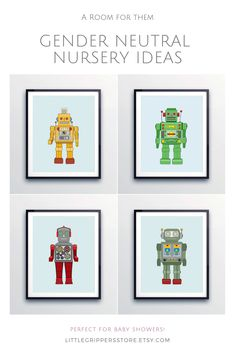 These vintage style Robot prints make the perfect nursery wall art. Based on the tin Robot toys of the these unique original designs bring fun to the walls of kids rooms, nurseries and playrooms.