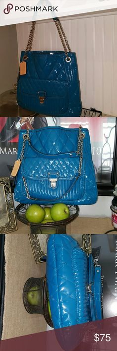 Authentic Coach Purse Beautiful Teal/Turquoise Patent leather Coach Purse. Excellent to Basically new looking condition. Classy statement purse. Coach Bags Shoulder Bags