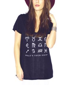 Loving this Black 'What's Your Sign' Tee on #zulily! #zulilyfinds