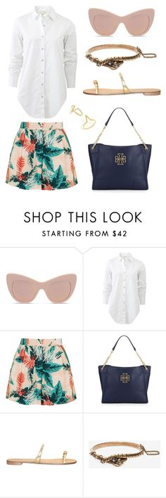 """""""shorts and blouse"""" by roxanna-kingston ❤ liked on Polyvore featuring STELLA McCARTNEY, rag & bone, Topshop, Tory Burch, Giuseppe Zanotti, Alexander McQueen, BaubleBar and printedshorts"""
