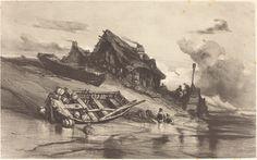 Eugène Isabey, 'Chaumières de pêcheurs,' c. 1844, National Gallery of Art, Washington D.C.