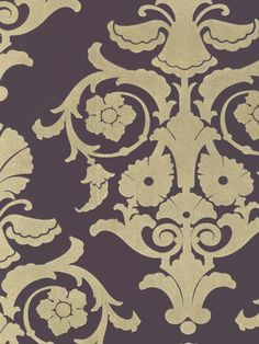 A damask wallpaper with stunning sophistication in the color 'Purple with Beige Velvet'. From the book Velvet Collectibles III at AmericanBlinds.com #wallcovering