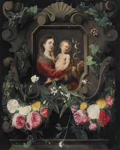 Daniël Seghers (1590–1661) & Cornelis Schut the Elder (1597-1655) — The Virgin and Child with the Infant Saint John, in a stone cartouche, decorated with a garland of roses, snowdrops and ivy, together with two butterflies  (803x1000)