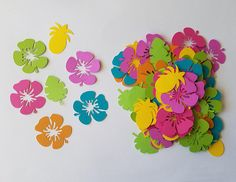Luau Confetti Brights - Set of 100 - Luau Party - Hawaiian Party - Hibiscus - Pineapple - Palm Leaf - Party Decor - Table Confetti from Briar Rose Paper Shoppe Hawaiian Party Decorations, Hawaiian Luau Party, Hawaiian Birthday, Hawaiian Theme, Tropical Party, Moana Birthday, Suculentas Diy, Table Confetti, Summer Crafts For Kids
