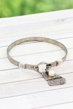 Show your state pride with this stylish bracelet. Burnished Silvertone Georgia Bracelet #statepride #statejewelry #georgia #ewamboutique