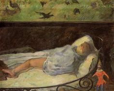 by Paul Gauguin in oil on canvas, done in . Now in a private collection. Find a fine art print of this Paul Gauguin painting. Paul Gauguin, Henri Matisse, Sleeping Boy, Monet, Pierre Bonnard, Impressionist Artists, Art Moderne, Renoir, Famous Artists