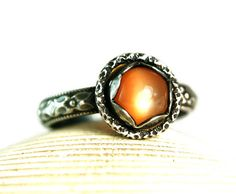 Sterling Silver Peach Moonstone Ring, Natural Cats Eye Glow, Vintage Inspired, Handmade Tazzie Jewels, made to order on Etsy, $55.00