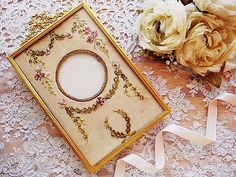 Beautiful ribbon embroidery for frame