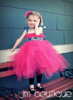 Hot Pink Tutu Dress w/ Damask Print Ribbon for Birthday, Flower Girl,