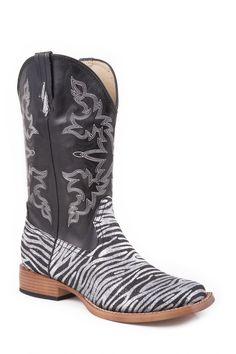 Roper Womens Square Toe Fa Black ncy Faux Leather Zebra Glitter Print Cowboy Boots