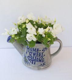 Vintage Ceramic Watering Home Sweet Home, Blue Cobalt Gray, Decorative
