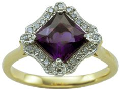 Amethyst and diamond cluster ring from UK Art Deco engagement ring collection