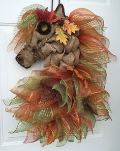 Autumn Leaves Horse Head Wreath by A Noble Touch by ANobleTouch Burlap Crafts, Wreath Crafts, Diy Wreath, Wreath Ideas, Wood Crafts, Deco Mesh Wreaths, Holiday Wreaths, Burlap Wreaths, Fall Crafts