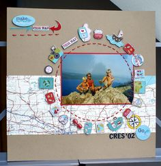 Love the map paper and circle of embellishments! Lovely! I could use my Epiphany tool to make small photo buttons . . .