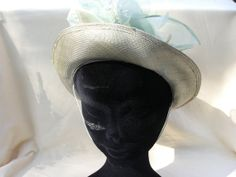 1960s Apple Green Straw Hat with flower by Petticoatjanevintage, £12.00