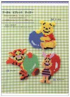 Winnie, Tigger and Piglet perler beads