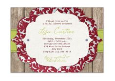 i want this for a Christmas party invite...  Rustic Bridal Shower Invitation Vintage Baby by digibuddhaPaperie, $15.00