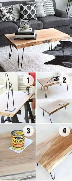 idée comment fabriquer table basse bois brut avec des pieds en epingle a cheveu… idea how to make raw wood coffee table with hairpin feet, gray sofa and cushions gray, black and white