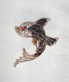 Beautiful Vintage FISH Pin Brooch with Blue by BrownsRetroFUNHouse