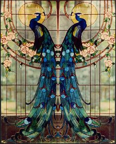 How pretty is this? I now want this as a french-door style window in the bathroom, right next to the claw foot tub #StainedGlassBathroom
