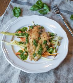 White Fish, Braised Vegetables and Basil Sauce