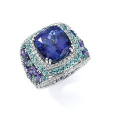 TANZANITE JEWELRY  Over $10,000  14k white gold ring with 13.57 ct. cushion-cut tanzanite center stone and 18.47 cts. t.w. gemstones and diamonds; $42,897; Le Vian