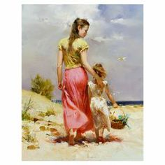 Add museum-worthy appeal to your living room or study with this eye-catching canvas print of Pino Daeni's Seaside Walk.   Product: Canvas printConstruction Material: CanvasFeatures:  Signed and numbered limited editionDesigned by Pino Daeni Comes with a certificate of authenticity Eco-friendly, solvent free inks Cleaning and Care: Dust with a dry cloth
