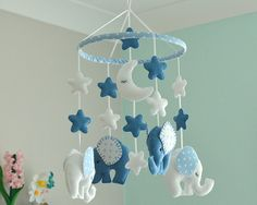 Blue Elephant Mobile  Baby Boy Mobile  Nursery Mobile  Baby