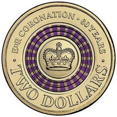 The Royal Australian Mint has launched a purple-striped two dollar coin to mark the Queen's anniversary of her coronation. Dollar Coin Value, Australian Money, Queen's Coronation, Two Dollars, Coin Values, Short Term Loans, Gold And Silver Coins, Commemorative Coins, 60th Anniversary