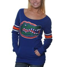 Florida Gators Ladies Glimmer Boatneck Rhinestone Sweatshirt - Royal Blue