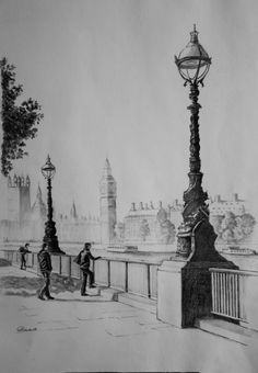 Drawing of the Southbank, London
