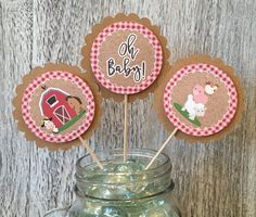 Farm Animals Baby Shower Cupcake Toppers Oh Baby Red