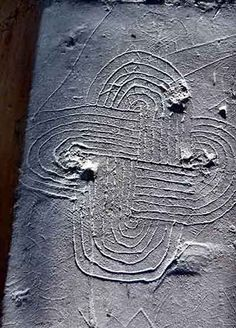 A complex knotwork design, known as a 'Solomon's Knot', from Lidgate church, Suffolk. The intricate designs are believed to be 'apotropaic'  in nature, and had the specific function of warding off demons and ill-fortune...