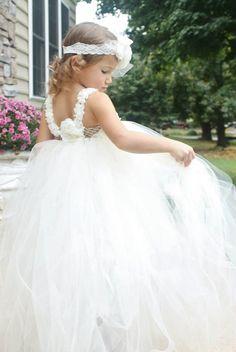Ivory White Flower Girl Dress Tutu Special by LudasPreciousDesigns, $55.00