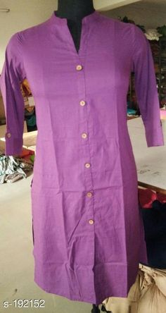 Kurtis & Kurtas Trendy Cotton Solid Kurti Fabric: Cotton  Sleeves: Sleeves Are Included  Size: M - 38 in, L - 40 in, XL - 42 in, XXL - 44 in  Length: Up To 40 in  Pattern: Solid Sizes Available: S, M, L, XL, XXL   Catalog Rating: ★4 (574)  Catalog Name: Solid Cotton Casual Kurtis Vol 1 CatalogID_19435 C74-SC1001 Code: 653-192152-