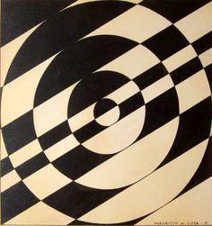 """Maurício Nogueira Lima (1930-1999)  """"Sem título"""" (1951) Nanquim 23 x 23 cm"""